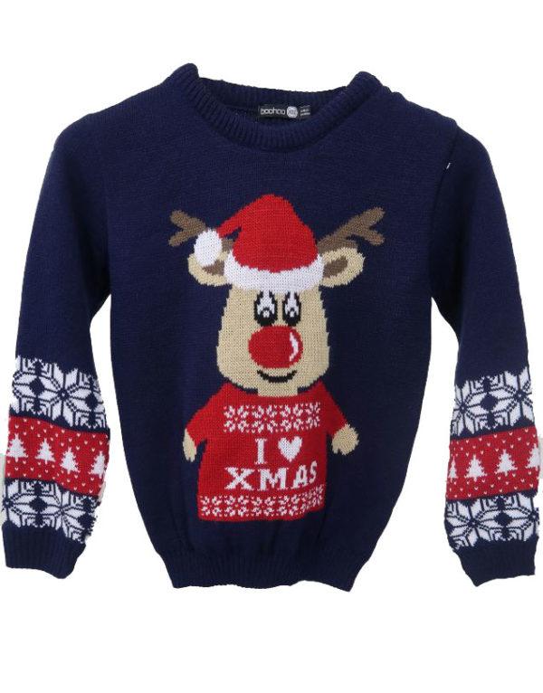 I Love X-Mas - Marineblå Strikket Julegenser til Barn