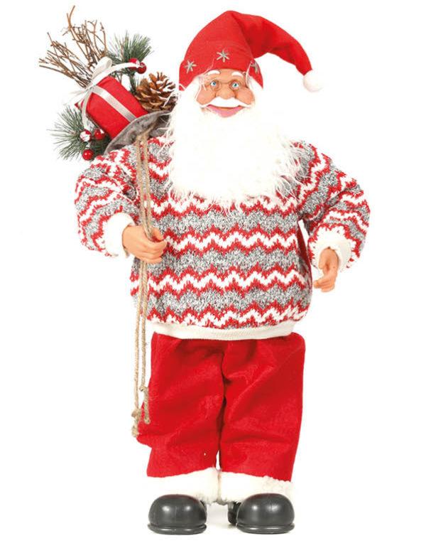 Julenissefigur med Strikket Genser og Gavesekk 60 cm