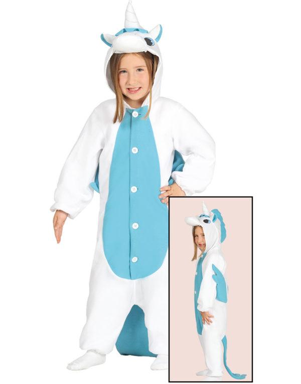 Kigurumi Blått Unicorn Barnekostyme