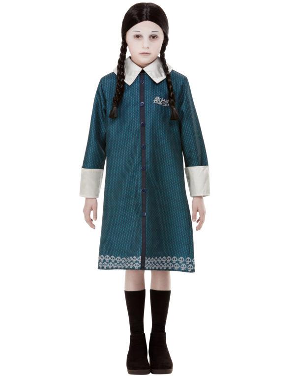 Lisensiert Addams Family Wednesday Kostyme med Parykk