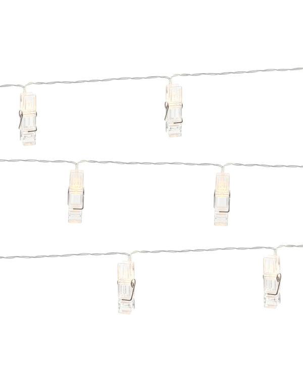 Lyslenke med 10 LED Klyper 140 cm