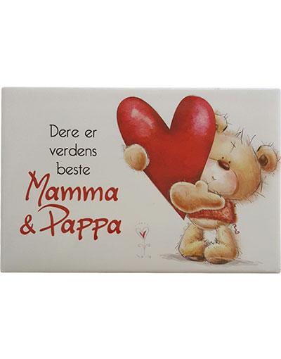 Mamma og Pappa - Kjøleskapsmagnet 8x5 cm