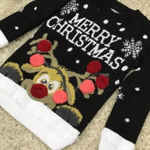 Merry Christmas - Svart Julegenser til Barn med Rudolf-Motiv