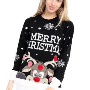Merry Christmas - Svart Rudolf Julegenser med Pom Poms