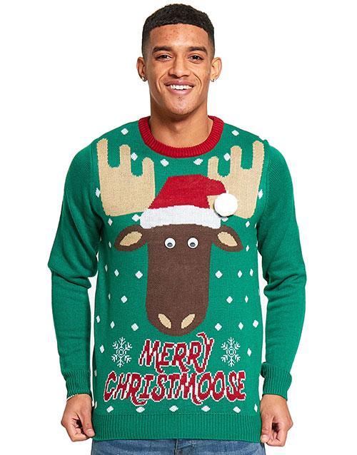 Merry Christmoose - Grønn Strikket Julegenser til Mann