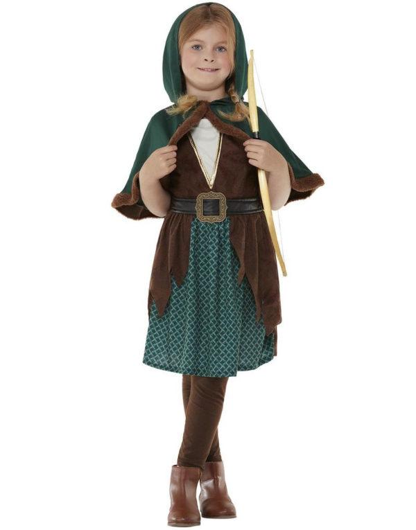 Middelaldersk Bueskytter Kostyme til Jente