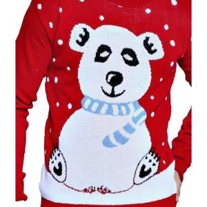 PLUS SIZE - Rød Strikket Julegenser til Mann med Polarbjørn Motiv