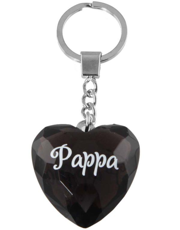 Pappa - Hjerteformet Svart Nøkkelring