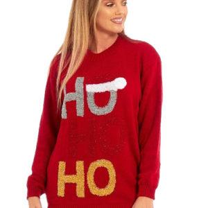 Rød HOHOHO Julegenser med Glitter