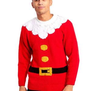 Rød Julenisse Genser til Mann med Plysjkanter