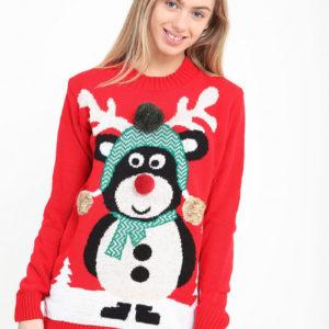 Rød Strikket Julegenser med Bamsemotiv og Pom Poms