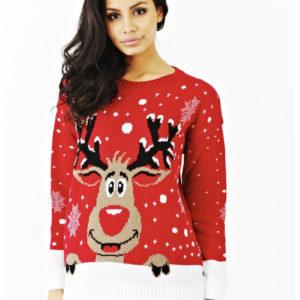 Rød Strikket Julegenser med Rudolf-Motiv