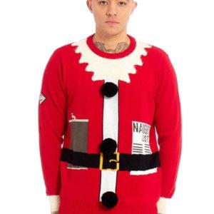 Rød Strikket Nisse Julegenser til Mann