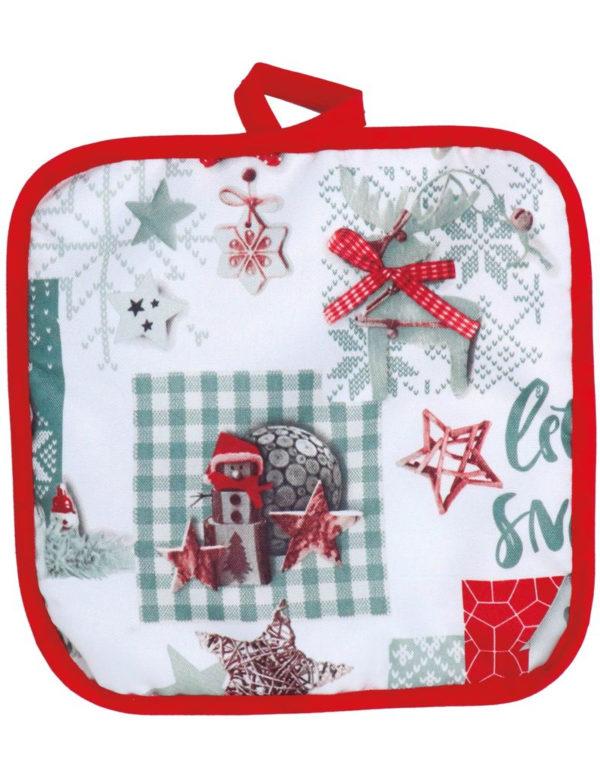 Rød og Hvit Gryteklut med Julemotiv