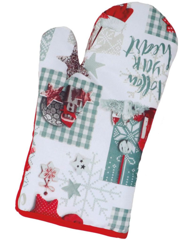Rød og Hvit Grytevott med Julemotiv