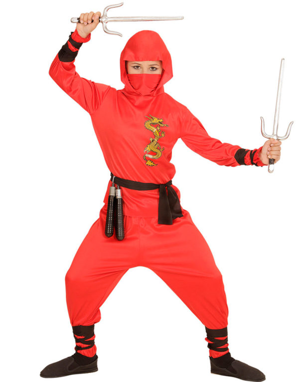 Rødt Ninja Barnekostyme
