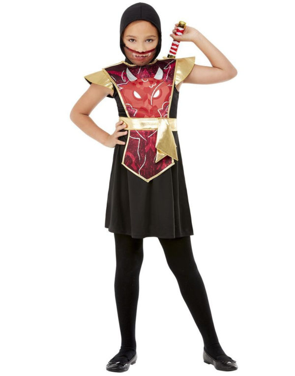 Rødt Ninja Barnekostyme med Sverd