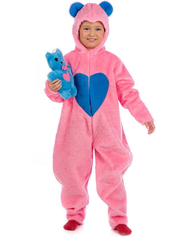 Rosa Carebear Barnekostyme med Teddybjørnbamse