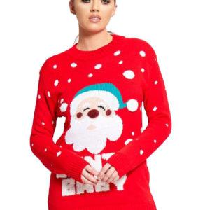 Santa Baby - Rød Julegenser med Nissemotiv