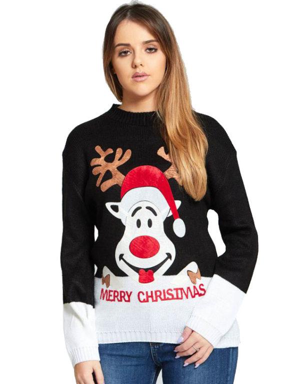 Santas Reindeer - Svart Strikket Julegenser med Mykt Motiv
