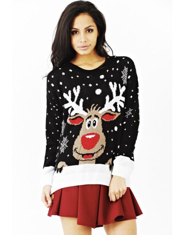 Svart Strikket Julegenser med Rudolf-Motiv