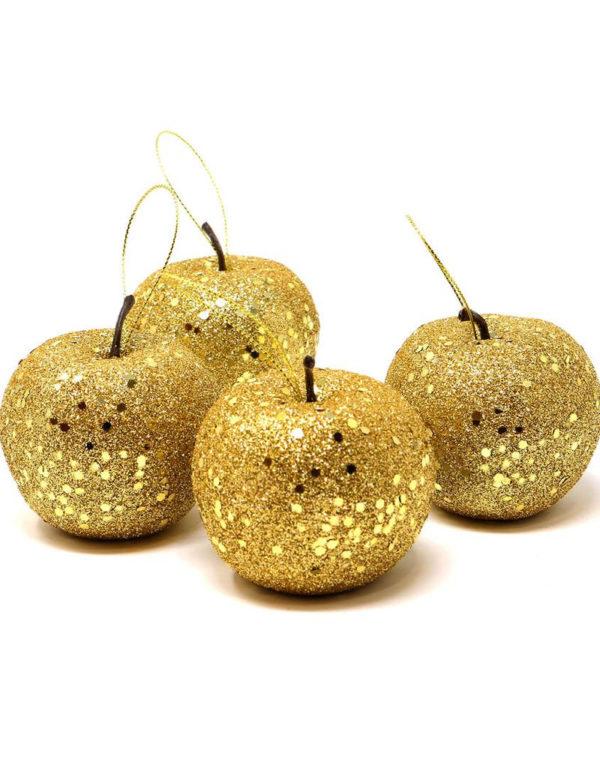 4 stk Epleformet Julekuler med Gullfarget Glitter 6 cm