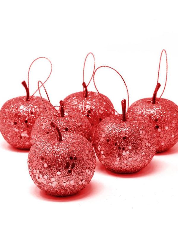 6 stk Epleformet Julekuler med Rødt Glitter 5 cm