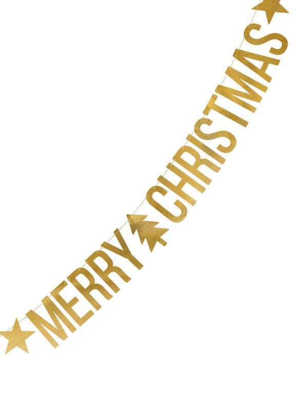 Gullfarget Merry Christmas Bokstavbanner 150 cm