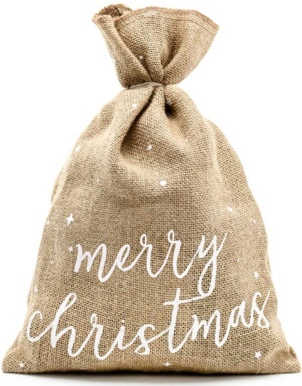 Merry Christmas - Brun Strie Julesekk 30x42 cm