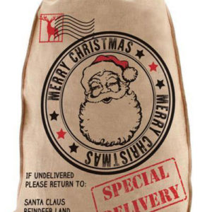 Merry Christmas Special Delivery - Brun Strie Julesekk 50x60 cm