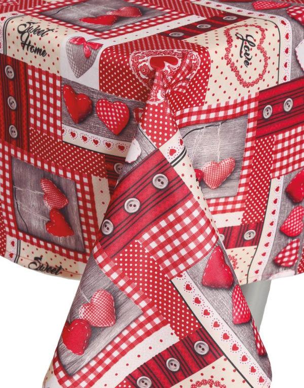 Rød Tekstilduk med Julemotiver 150x200 cm