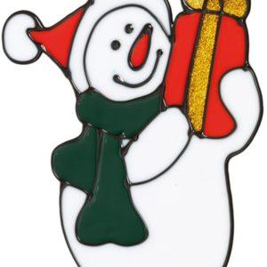 Snømann med Julegave - Vindusdekorasjon 14x13 cm