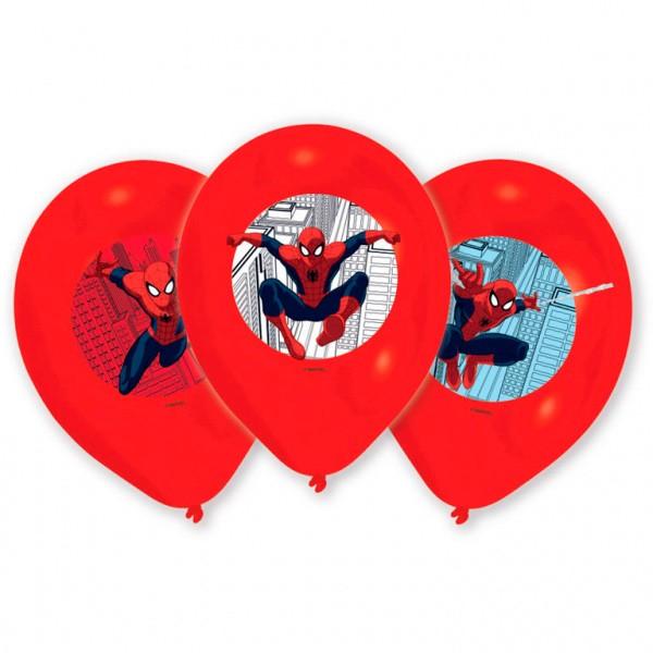 Spiderman Ballonger med Print 6 stk