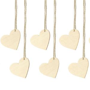 10 stk Hjerteformet Tags i Treverk