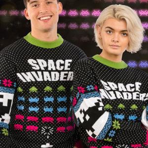 Lisensiert Strikket Space Invaders Julegenser - Strl XXL