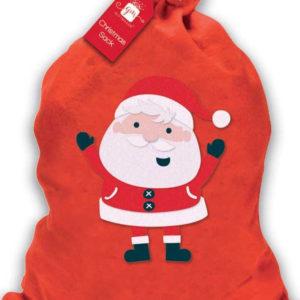 Rød Julesekk med Motiv av Julenissen 61x49 cm