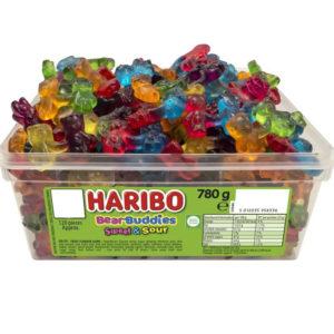 120 stk Haribo Bear Buddies Sweet & Sour - Boks med Vingummi Bjørner