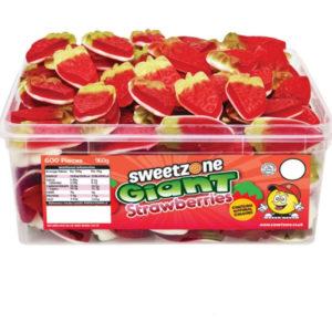120 stk Sweetzone Giant Strawberries - Boks med Store Vingummi Jordbær