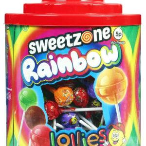 150 stk Sweetzone Regnbue Lollies / Kjærligheter - Hel Eske