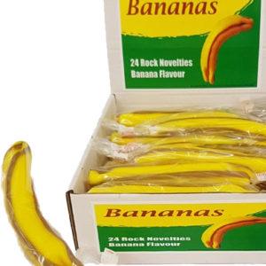 24 stk Banana Rock Lollies - 2,5 kg Bananformet Sukkertøystang