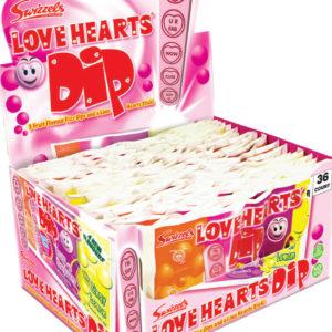 36 stk Swizzels Love Hearts Dip med 3 Smaker
