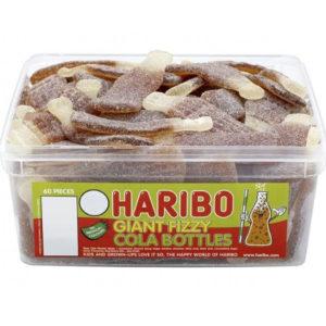 60 stk Haribo Giant Sour Cola - Boks med Store Sure Vingummi Colaflasker
