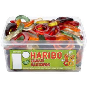 60 stk Haribo Giant Suckers - Boks med Store Vingummismokker