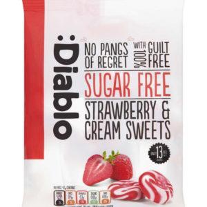 Diablo Sukkerfri Sukkertøy med Jordbær- og Kremsmak 75 gram