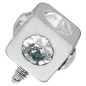 Firkantet Sølvfarget Dermal Anchor Kule med Klare Stener - Strl 3 mm kule med 1,2 mm gjenger