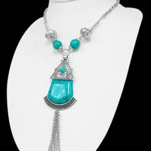 Free Spirit - Sølvfarget Smykke med Turkise Stener