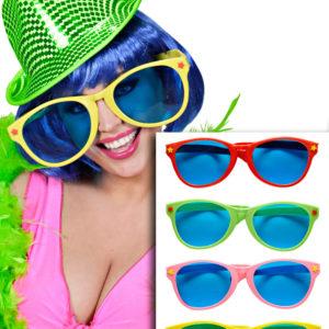 Gigantiske Partybriller med Blått Glass - Velg Farge!