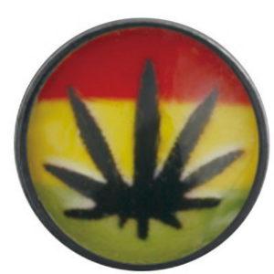 Jamaica Weed Red/Yellow/Green - Dermal Anchor 4 mm Kule med 1,2 mm gjenger