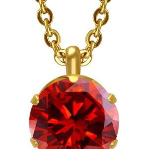 Pent Gullfarget Smykke med Rød Sten