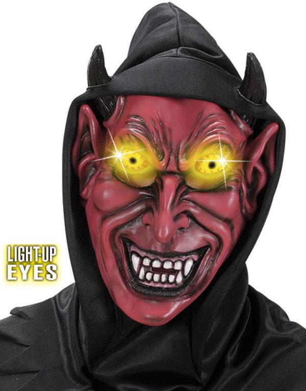 Rød Djevel - Maske Med Lysende Øyne og Hette